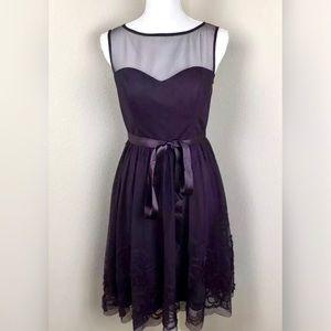 Eliza J Mesh Ribbon Skirt Belted Fit & Flare Dress
